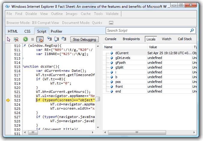 IE8 developer tools