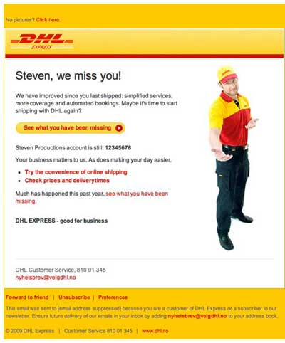 Reminder email from DHL Express