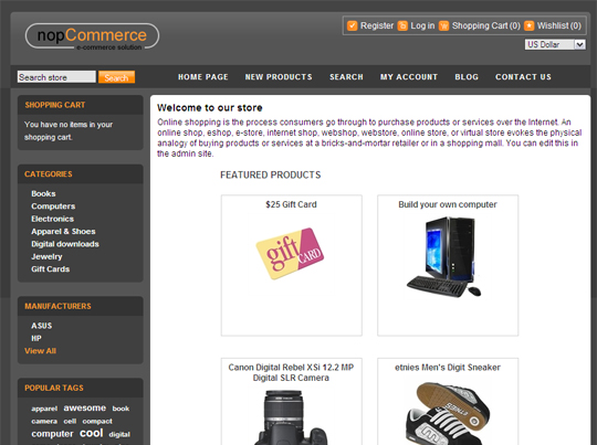 nopCommerce front end