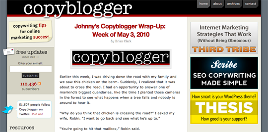 The compelling content of CopyBlogger