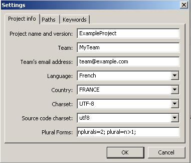 poedit settings window