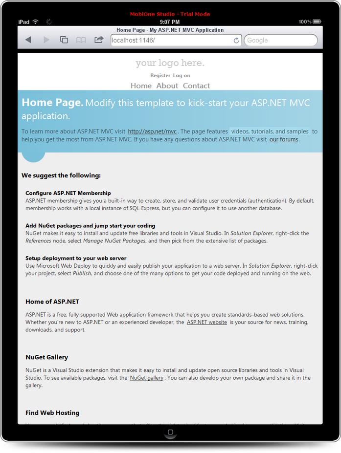 login page on iPad
