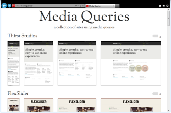 screenshot of media queries fan site