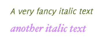Examples of Italic Font Styles