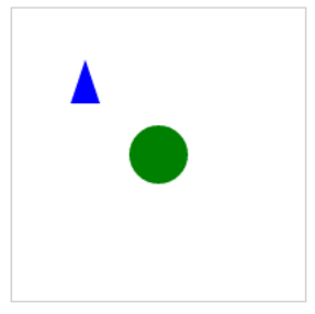 Figure 4 A Blue Triangle and a Green Circle Drawn with Fabric
