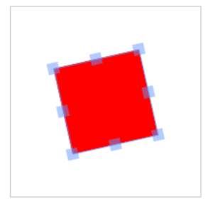 Figure 7 Red, Rotated Rectangle in Selected State (Controls Visible)