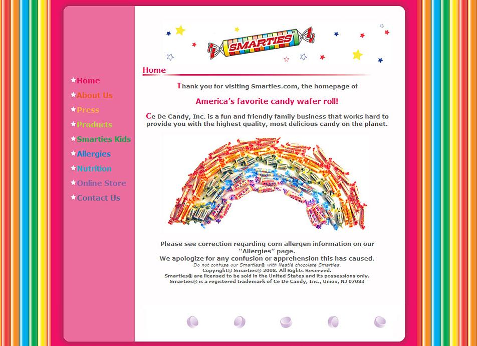 Screenshot: Original Smarties website