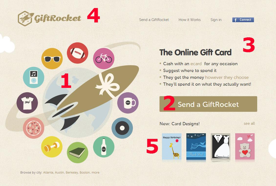 Screenshot: Gift Rocket Dotcom
