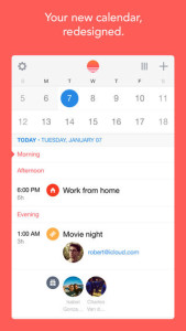 Sunrise Calendar offers a gorgeous, flat design and an emphasis on images and visual information