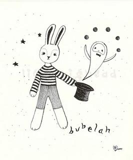Pen illustration of a rabbit magician