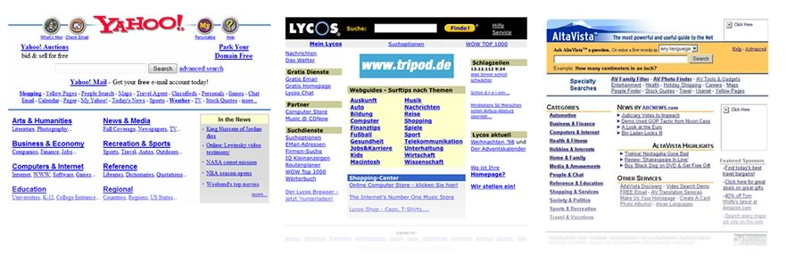 Screenshots of Yahoo, Lycos and AltaVista in the late 90's.