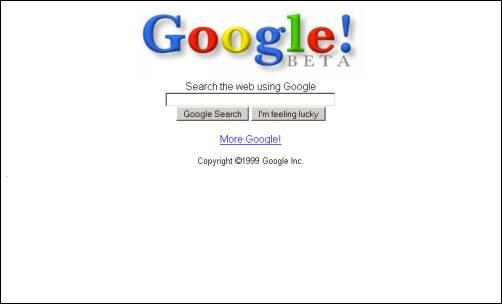 Screen shot Google circa 1999
