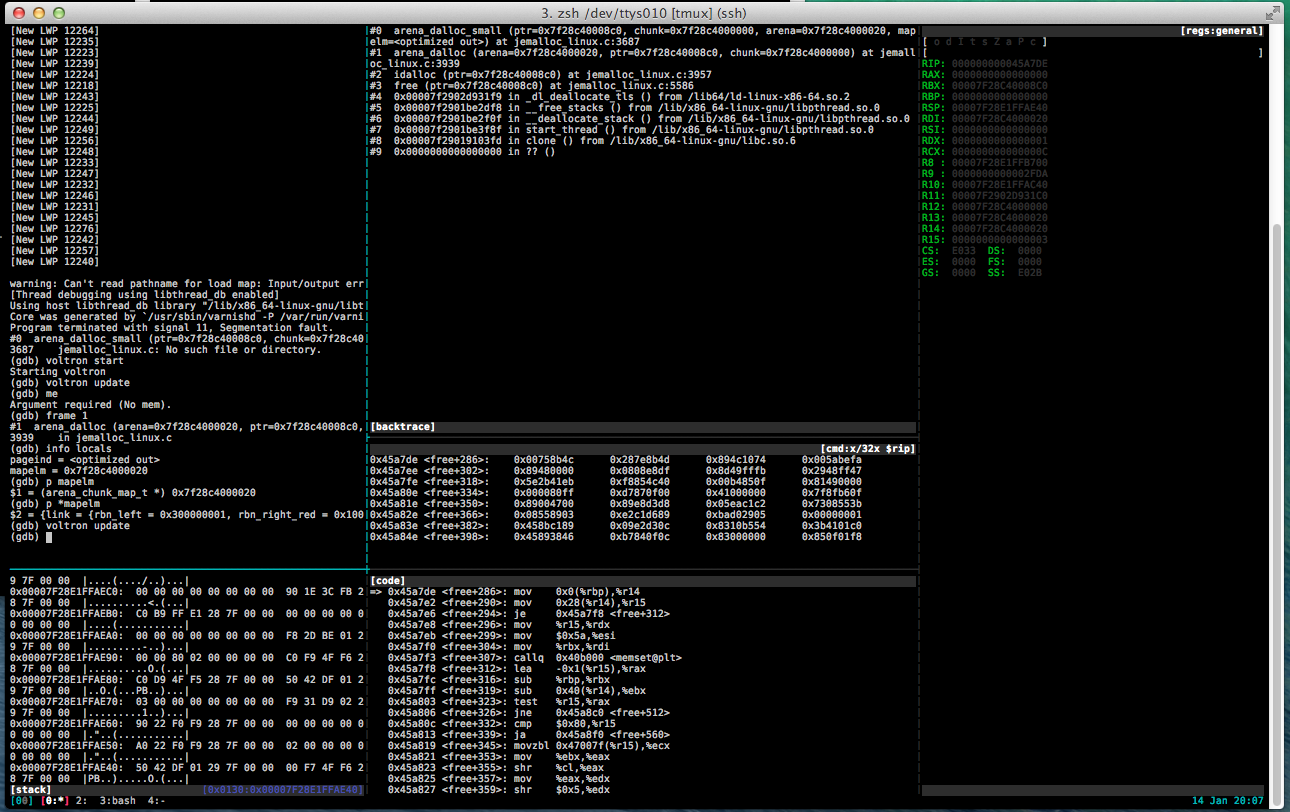 Debugging the core dump with voltron