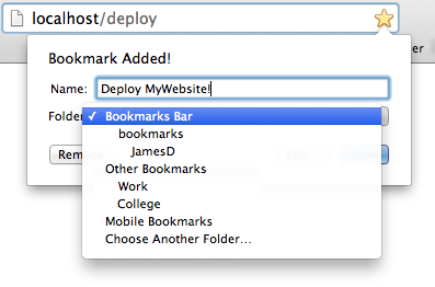 Add your new deployment page to your bookmarks for one-click deployment.