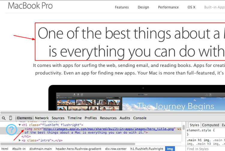 Text in Images at Apple.com