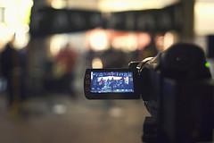 A video camera recording a scene