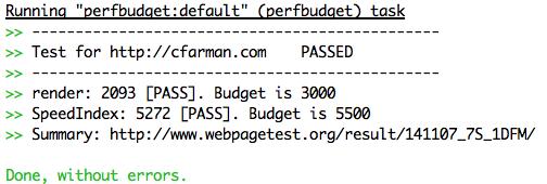 perfbudget task passed