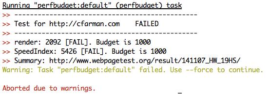 perfbudget task failed