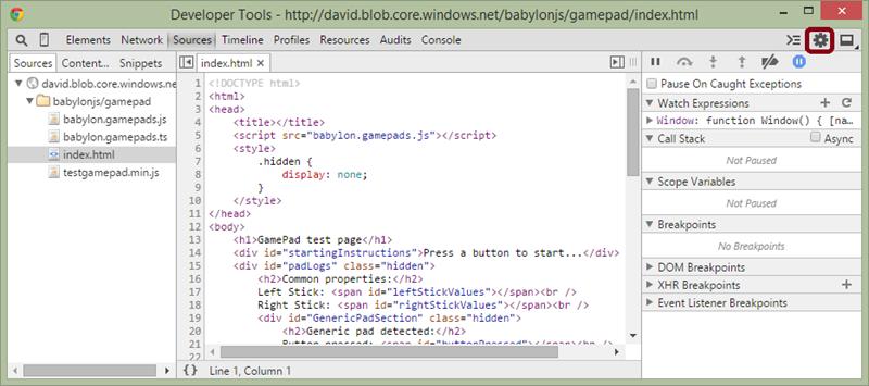 Using Chrome dev tools