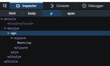 Firefox Developer tools showing how the HTML5 parser fixed the wrongly nested HTML