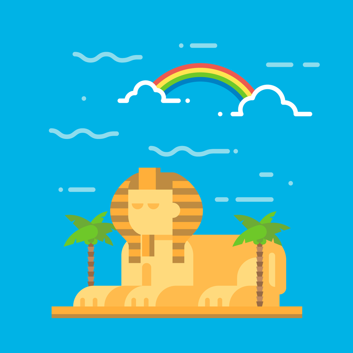 Pixelated vector image of the Sphinx