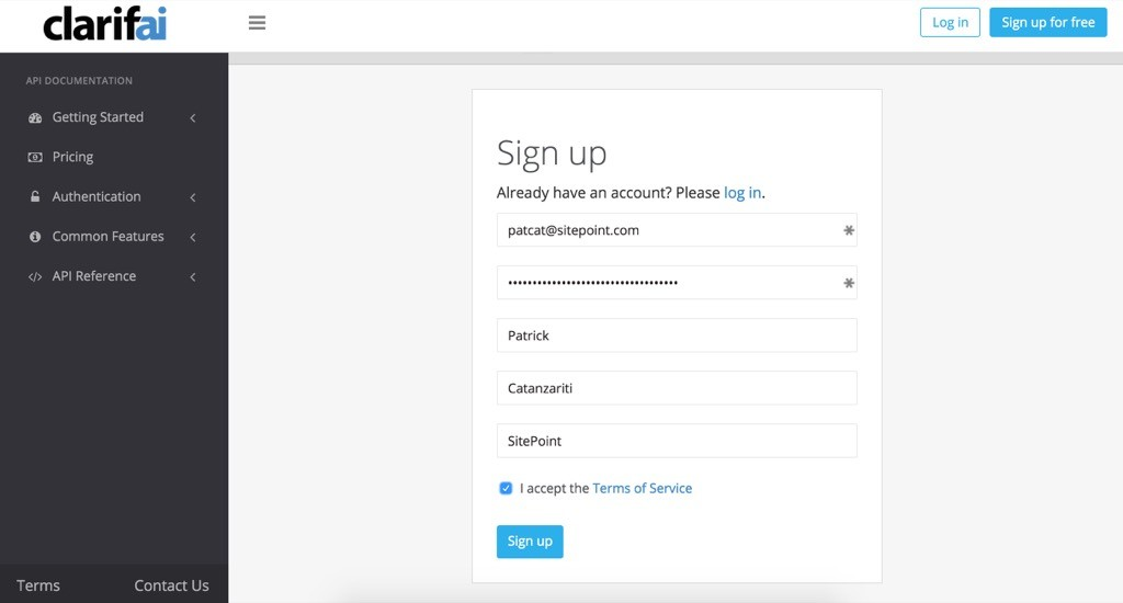 Clarifai's signup page
