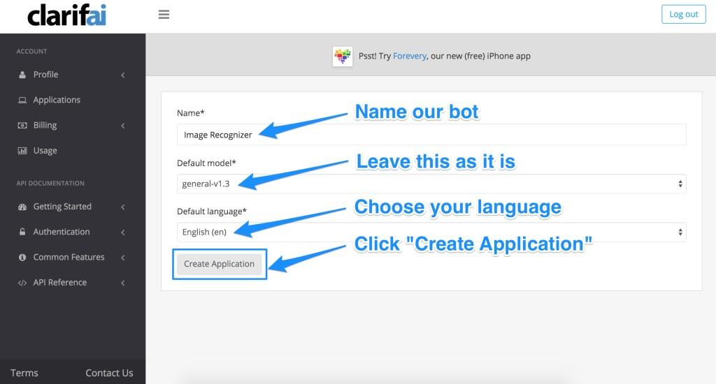 Creating a Clarifai application