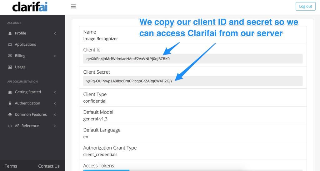 Finding your Clarifai keys