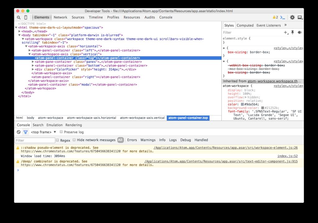 Chrome Developer Tools in Atom Editor