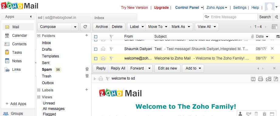 Zoho Email Dashboard