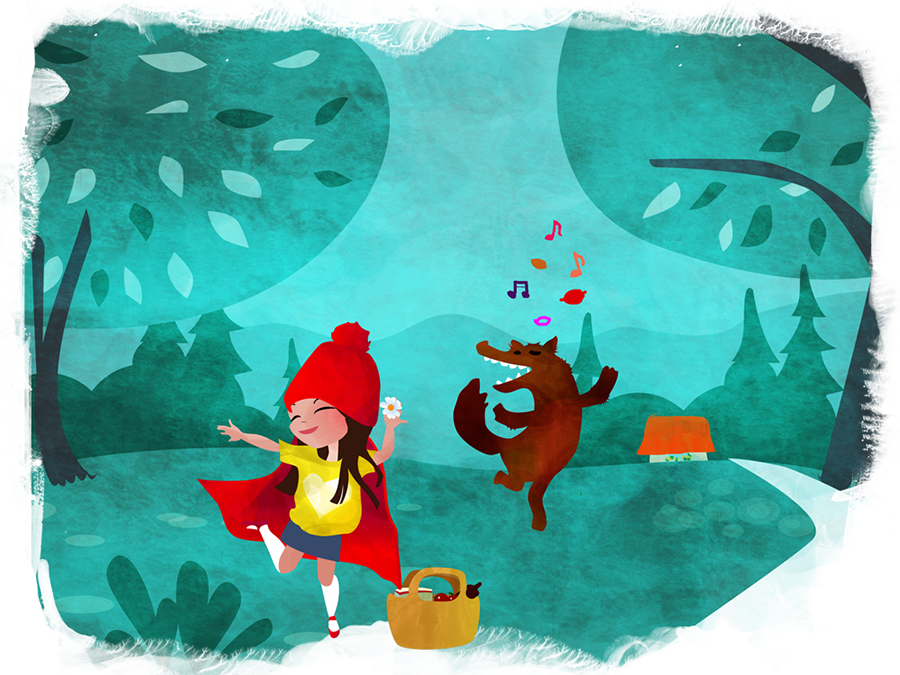 Little red riding hood dancing with wolf