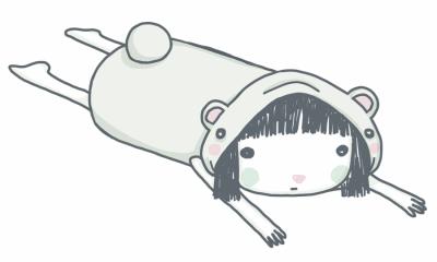 Illustration: Girl in onesie lying on her tummy.