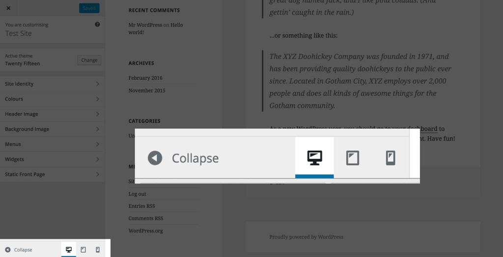 New Live Responsive View in Customizer