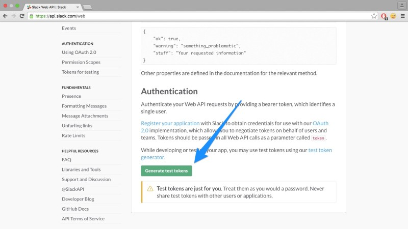 Generating an API token for Slack
