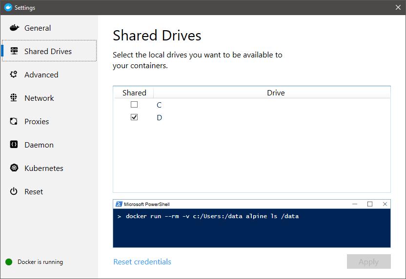 Docker shared drives on Windows