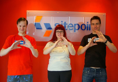 SitePointers doing the SitePoint sign