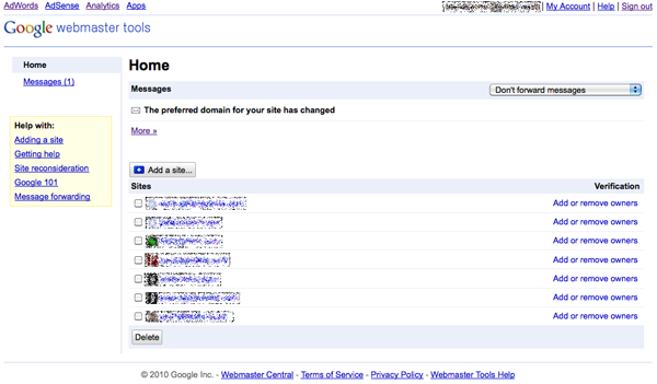 The Google Webmaster Tools home screen