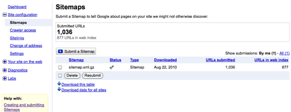 Google Webmaster Tools' Sitemaps functionality