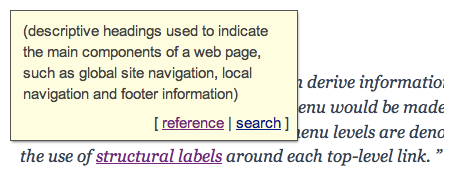 A rich tooltip positioned above the linked-term.