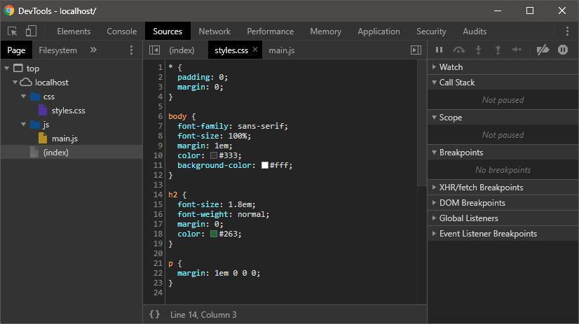 Chrome DevTools Sources