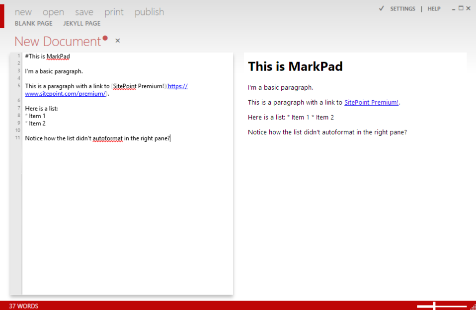 A screen shot of MarkPad in action