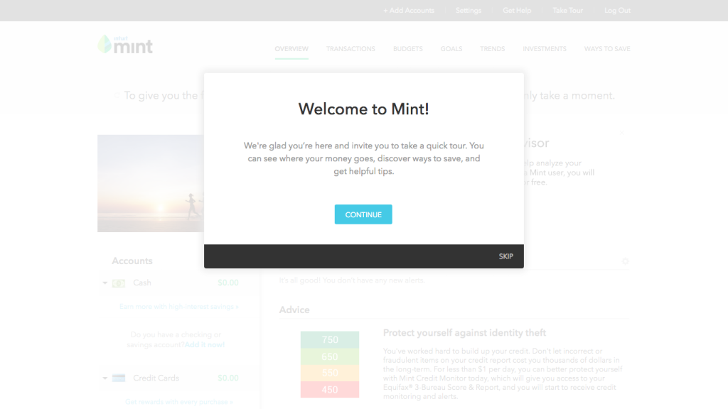 Screen: Welcome to Mint