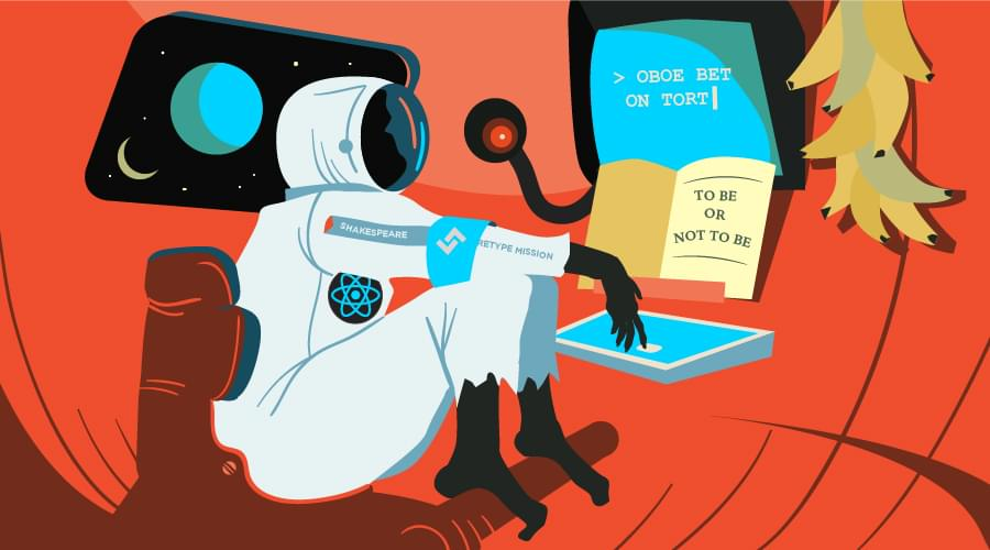 Monkey in a spacesuit typing code into a terminal