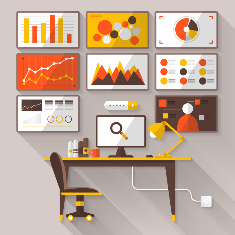 Logging and analytics with graphs illustration