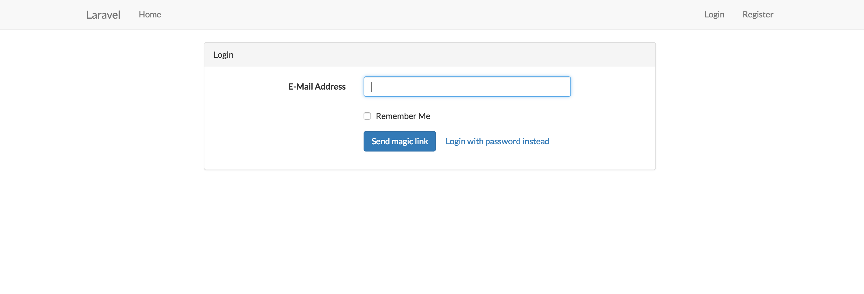 Example of view with login form
