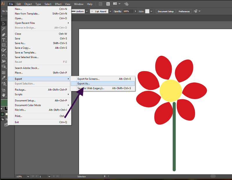 Export As feature in Adobe Illustrator