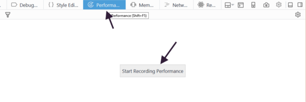 Performance panel in Firefox Developer Tools.
