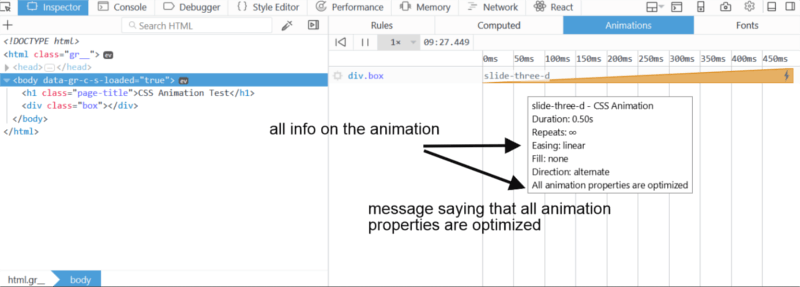 Animation panel in the Inspector of Firefox Developer Tools.