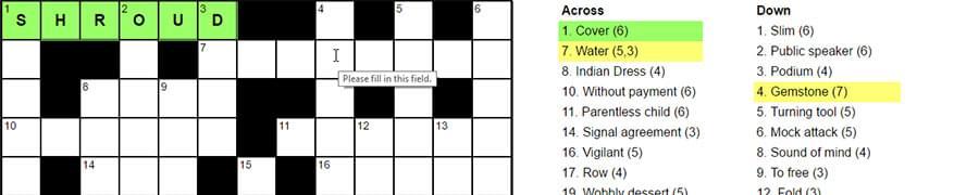Crossword hover