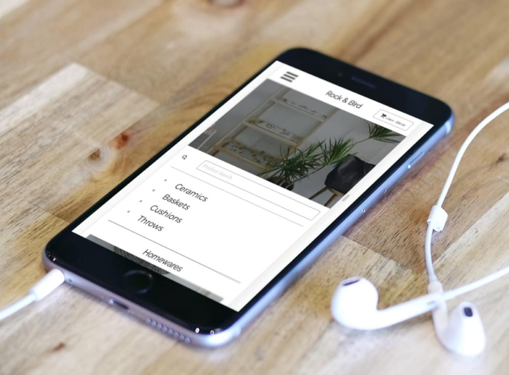 A mockup of a site on a phone